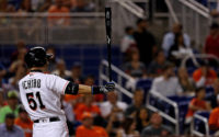MIAMI, FL - JUNE 21:  Ichiro Suzuki #51 of the Miami Marlins hits during a game against the Atlanta Braves at Marlins Park on June 21, 2016 in Miami, Florida.  (Photo by Mike Ehrmann/Getty Images)