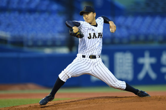 TOKYO, JAPAN - JULY 15:  Kohei Miyadai of Japan throws a pitch in the top of first inning on the day 3 match between Japan and USA during the 40th USA-Japan International Collegiate Series at the Meiji Jingu Stadium on July 15, 2016 in Tokyo, Japan.  (Photo by Atsushi Tomura - SAMURAI JAPAN/SAMURAI JAPAN via Getty Images)