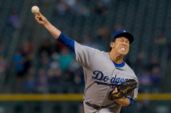 DENVER, CO - AUGUST 29: Kenta Maeda #18 of the Los Angeles Dodgers pitches against the Colorado Rockies in the first inning of a game at Coors Field on August 29, 2016 in Denver, Colorado.  (Photo by Dustin Bradford/Getty Images)