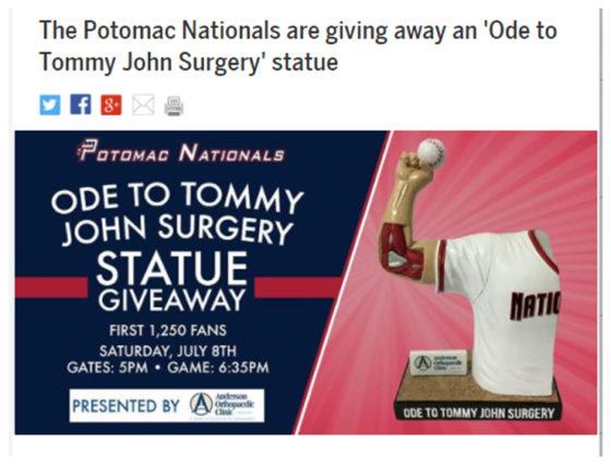 """MLB公式動画サイト「Cut4」もナショナルズ傘下1Aポトマックによる""""トミー・ジョン手術""""人形無料配布を報道(写真はスクリーンショット)"""