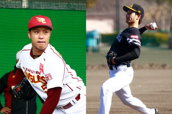 楽天・辛島航(左)、ソフトバンク・武田翔太(右)【写真:荒川祐史】