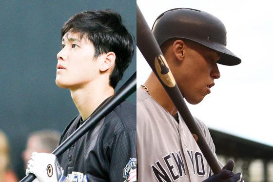 大谷翔平(左)とアーロン・ジャッジ(右)【写真:石川加奈子、Getty Images】