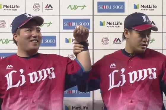 ヒーローインタビューを受ける西武・山川穂高(左)と牧田和久【写真:(C)PLM】