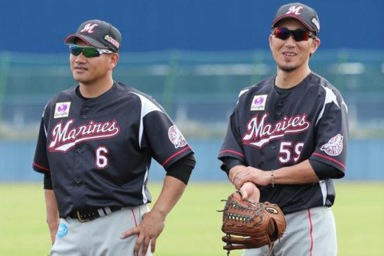 ロッテ・井口資仁(左)と細谷圭(右)【写真提供:千葉ロッテマリーンズ】