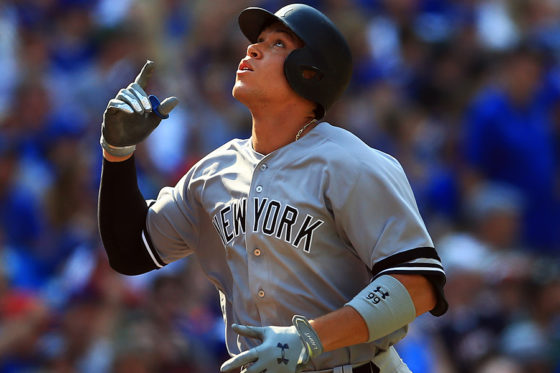 ブルージェイズ戦の7回に本塁打を放ったヤンキースのアーロン・ジャッジ【写真:Getty Images】