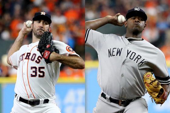 アストロズ先発のバーランダー(左)とヤンキース先発のセベリーノ【写真:Getty Images】