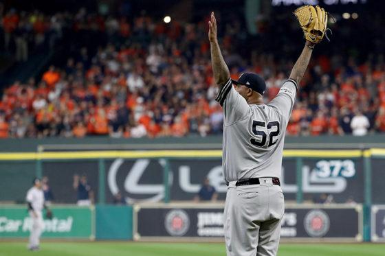 ジャッジの好捕に喜ぶヤンキース先発のサバシア【写真:Getty Images】