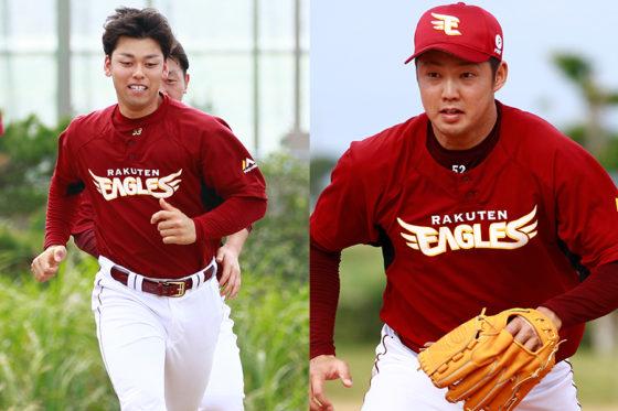 楽天・高梨雄平(左)と森原康平(右)【写真:荒川祐史】