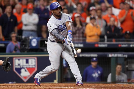 9回に本塁打を放ったドジャース・プイグ【写真:Getty Images】