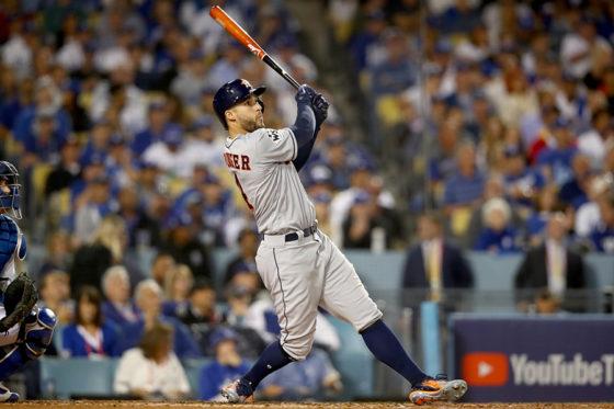 先制となる本塁打を放ったアストロズ・スプリンガー【写真:Getty Images】