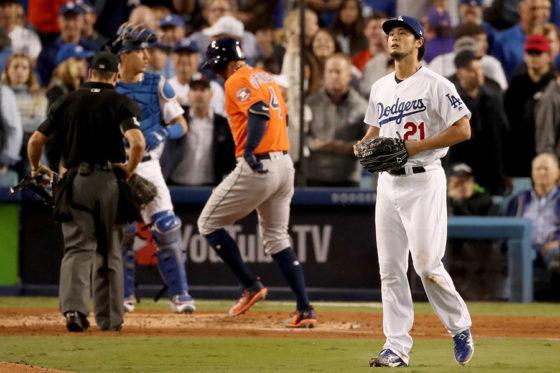スプリンガーに本塁打を許したドジャース・ダルビッシュ有【写真:Getty Images】