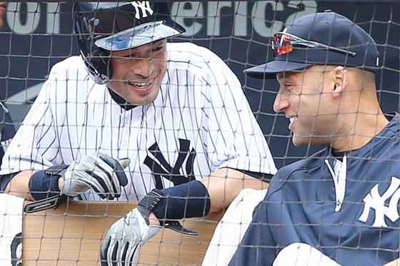 ヤンキース時代に2年半、チームメートだったイチローとジーター氏【写真:Getty Images】
