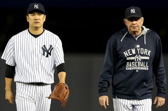 ヤンキースの田中(左)と投手コーチのロスチャイルド(右)【写真:Getty Images】