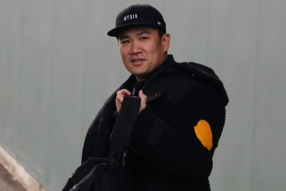 Koboパーク宮城を訪問したヤンキース・田中将大【写真:編集部】