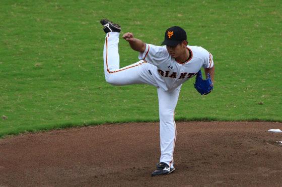 台湾WLで先発登板した巨人・谷岡【写真:広尾晃】