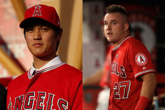 エンゼルスへの入団が決まった大谷翔平(左)とマイク・トラウト【写真:Getty Images】
