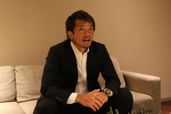 インタビューに応じるソフトバンク・松田宣浩【写真:中村彰洋】