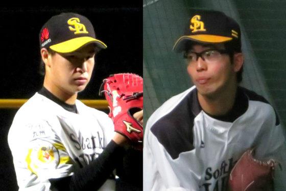 ソフトバンク・長谷川宙輝(左)と野澤佑斗【写真:福谷佑介】