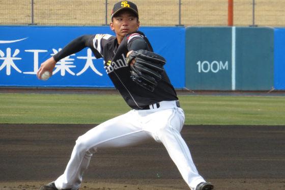 フリー打撃で登板したソフトバンク・東浜巨【写真:福谷佑介】