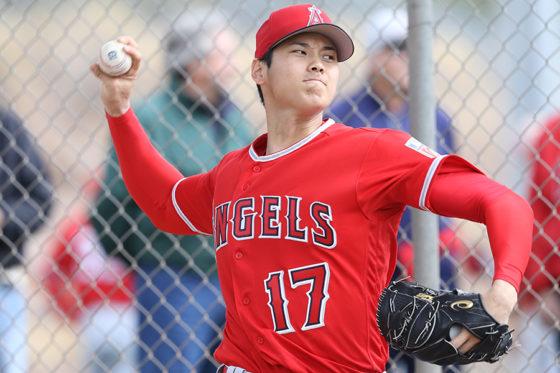 エンゼルス移籍後、初のブルペンでの投球を行った大谷翔平
