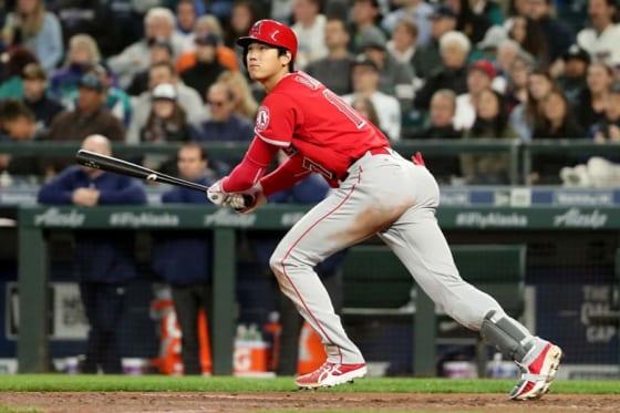 第3打席で左適時二塁打を放ったエンゼルス・大谷翔平【写真:Getty Images】