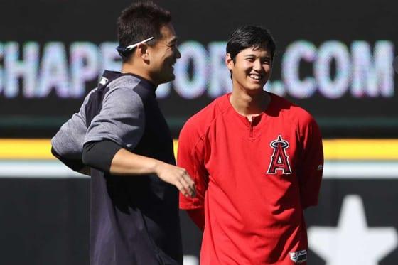 ヤンキース・田中将大(左)、エンゼルス・大谷翔平【写真:Getty Images】