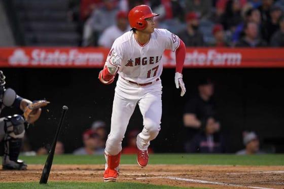 痛烈な二塁打を放ったエンゼルス・大谷翔平【写真:AP】
