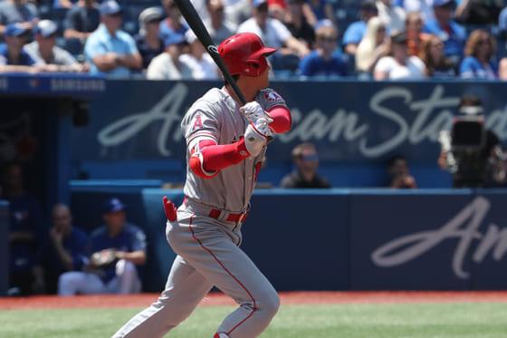 左中間を破る二塁打を放ったエンゼルス・大谷翔平【写真:Getty Images】