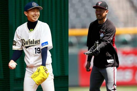 オリックス・金子千尋(左)、Dバックス・平野佳寿【写真:荒川祐史、AP】