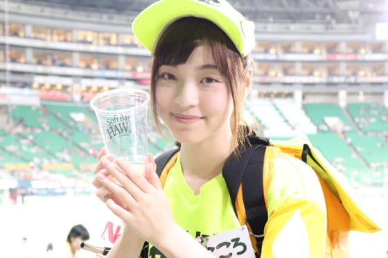 今季で売り子4年目のキリンビールの「こころ」さん【写真:福谷佑介】
