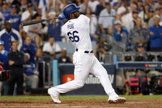 ワールドシリーズ第4戦で本塁打を放ったドジャース・プイグ【写真:Getty Images】