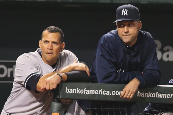 ヤンキースで同僚だったアレックス・ロドリゲス氏(左)とデレク・ジーター氏【写真:Getty Images】