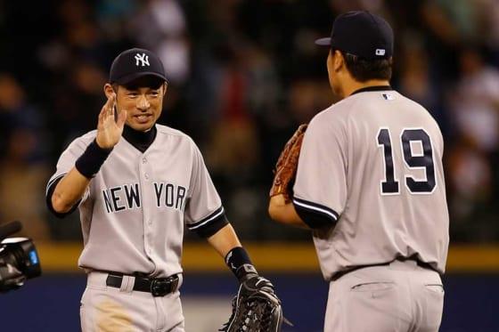 ヤンキース時代に同僚だったイチロー(左)と田中将大【写真:Getty Images】