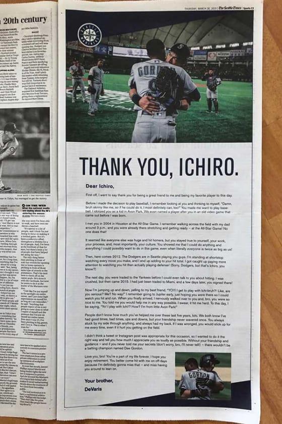 ゴードンがイチローへの惜別メッセージをシアトル・タイムズに掲載【写真:木崎英夫】