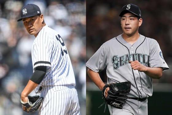 ヤンキース・田中将大とマリナーズ・菊池雄星(左から)【写真:Getty Images】