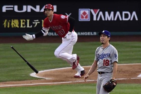 初回にドジャース・前田健太から7号本塁打を放ったエンゼルス・大谷翔平【写真:AP】