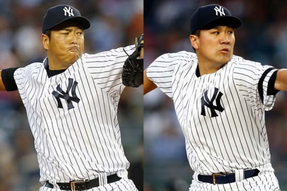 ヤンキースで活躍した黒田博樹氏(左)と田中将大【写真:Getty Images】
