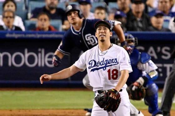 パドレス・レンフローに本塁打を浴びたドジャース・前田健太【写真:AP】