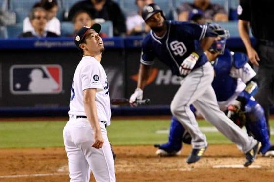 パドレス・マーゴットに本塁打を浴びたドジャース・前田健太【写真:AP】