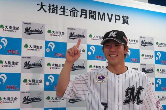 6月度の大樹生命月間MVPを受賞したロッテ・鈴木大地【写真:岩国誠】
