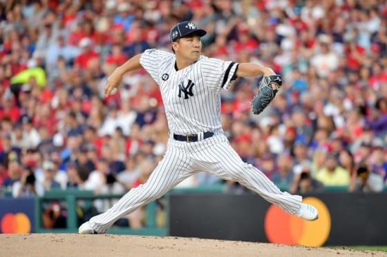 MLBオールスターでア・リーグ二番手として登板し勝利投手となったヤンキース・田中将大【写真:Getty Images】