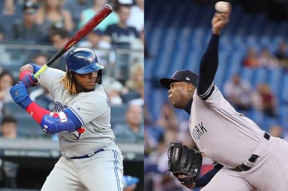 ブルージェイズのブラディミール・ゲレーロJr.(左)とヤンキースのアロルディス・チャップマン【写真:Getty Images】