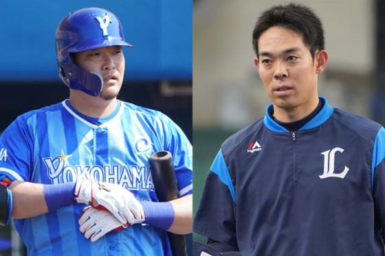 MLBに挑戦することを表明したDeNA・筒香嘉智(左)と西武・秋山翔吾【写真:荒川祐史】