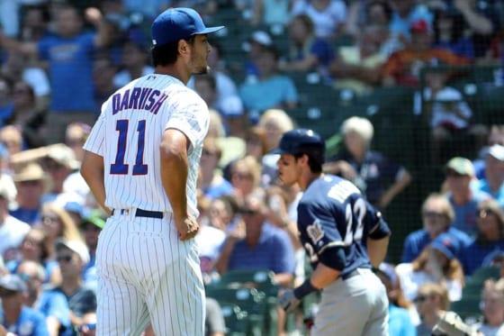 8月5日の試合でブルワーズのクリスチャン・イエリッチに本塁打を浴びたカブス・ダルビッシュ有【写真:Getty Images】