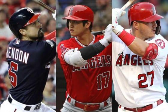 エンゼルスに加入するアンソニー・レンドンと大谷翔平、マイク・トラウト(左から)【写真:Getty Images】