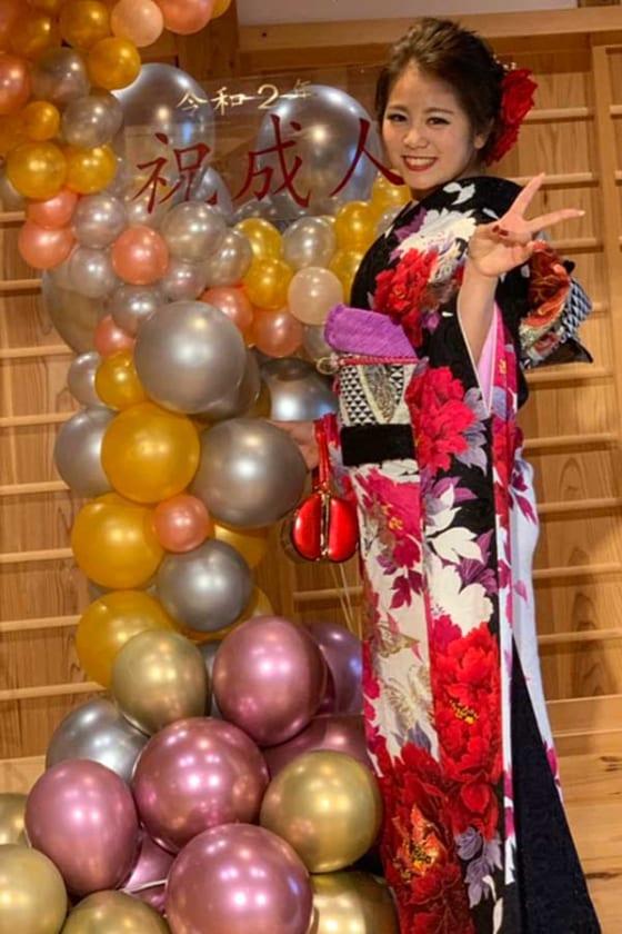 成人式を迎えた京都フローラ・中嶋南美【写真提供:日本女子プロ野球リーグ】