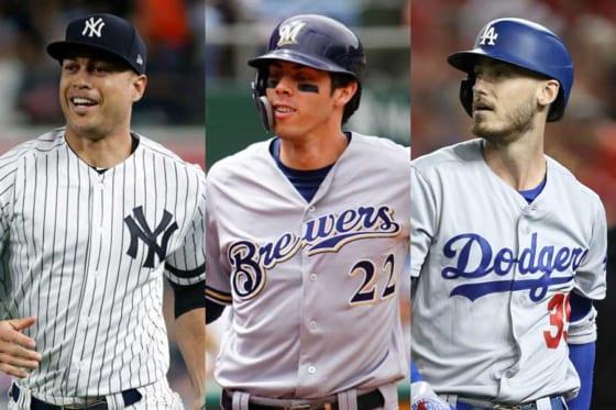 ヤンキースのスタントン、ブルワーズのイエリッチ、ドジャースのベリンジャー(左から)【写真:Getty Images】