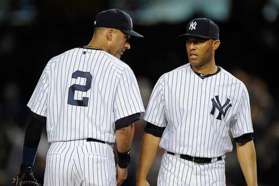 ヤンキースで活躍したデレク・ジーター氏(左)とマリアノ・リベラ氏【写真:Getty Images】