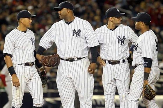 かつてヤンキースでチームメートだったAロッド、サバシア、ジーター、カノ(左から)【写真:Getty Images】