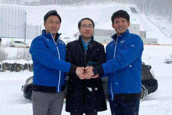 日本ハムの斎藤佑樹と杉谷拳士が厚真町を訪問した【写真:編集部】